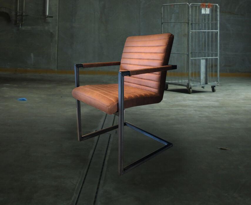 Industriële stoel cognac floorsite.nl