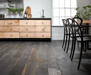 Multiplank houten café vloer 18cm Barnwood Raw Oak DARK Zwart/Black